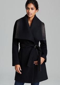 Elie Tahari Coat - Marina Leather Trim Belted