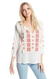 Joie Women's Millian Crepe Embroidered Split Neck 3/4 Sleeve Blouse