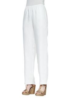 Go Silk Straight-Leg Linen Pants, Black