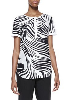 Lafayette 148 New York Shari Short Sleeve Zebra-Print Top, Black/White
