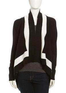 Joan Vass Drape-Front Contrast-Border Cardigan, Black