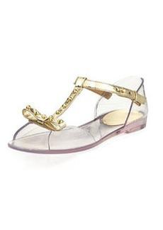 Stuart Weitzman Nifty Jelly Flat Sandal, Clear/Gold