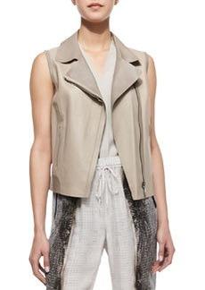Elie Tahari Katie Sleeveless Moto-Style Faux-Leather Vest, Burlap/Sandstone