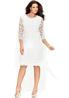 INC International Concepts Plus Size Three-Quarter-Sleeve Lace Sheath Dress