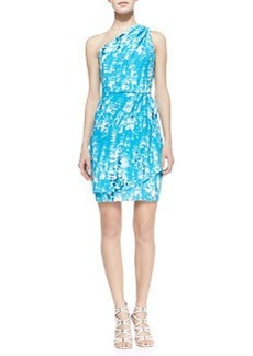 Shoshanna Julia One-Shoulder Print Dress, Turquoise/White/Navy
