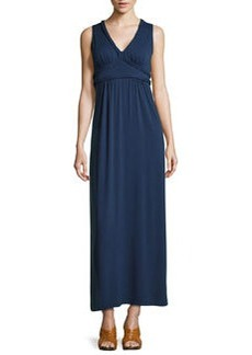 Max Studio Braid-Trim Maxi Dress, Navy