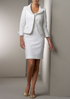 Albert Nipon Diamond-Textured Jacket & Dress Set