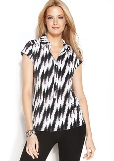 Alfani Petite Cap-Sleeve Printed Polo Top