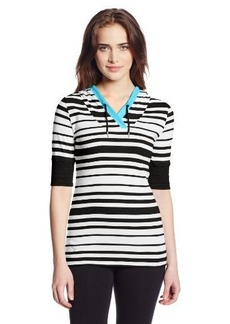 Calvin Klein Performance Women's Stripe Elbow Sleeve Hooded Tee