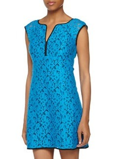 Nanette Lepore Sleeveless Floral-Print Lace Dress, Blue/Black