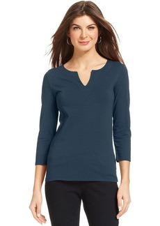 Jones New York Signature Petite Three-Quarter-Sleeve V-Neck Top