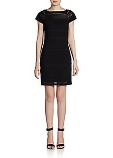 Diane von Furstenberg Novi Leather-Panel Knit Sheath Dress