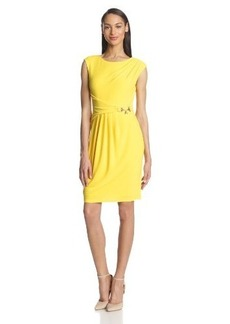 Ellen Tracy Women's Cap-Sleeve Side-Gather Dress