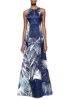 Kay Unger New York Silk Keyhole Sleeveless Gown