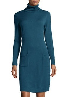 Lafayette 148 New York Merino Wool Turtleneck Sweaterdress, Mallard
