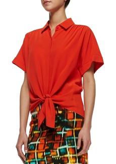 Lafayette 148 New York Elodie Short-Sleeve Silk Blouse