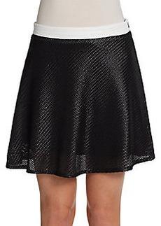 Saks Fifth Avenue RED Basketweave Flounce Skater Skirt
