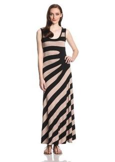 Calvin Klein Women's Sleeveless Diagonal-Stripe Maxi Dress