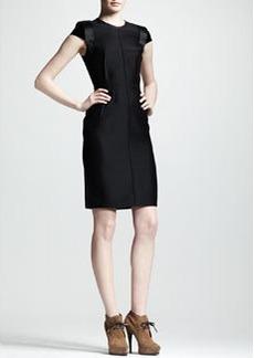 Lanvin Velvet-Sleeve Sheath Dress