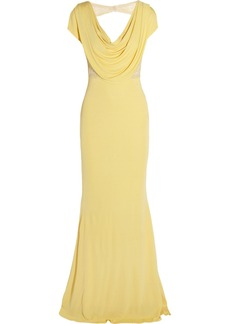 Badgley Mischka Embellished draped-back jersey gown