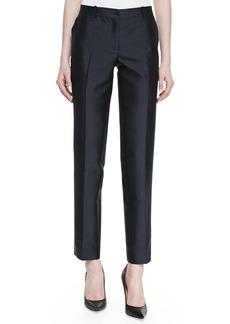 Michael Kors Wool Shantung Slim Pants, Midnight