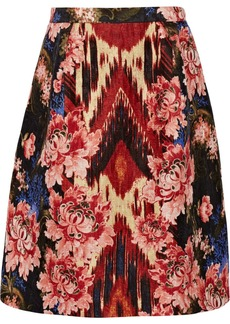 Oscar de la Renta Slub silk and wool-blend skirt