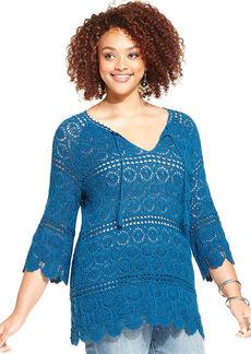 Lucky Brand Plus Size Crochet Tunic Sweater