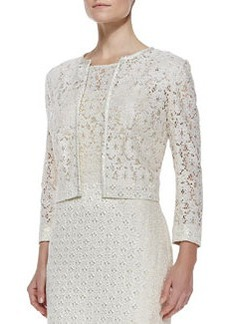 Kay Unger New York Cropped Lace Jacket, Ivory