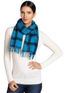 Lanvin green and black check cashmere-wool blend scarf