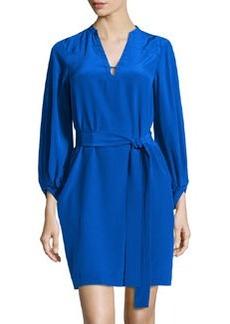 Diane von Furstenberg Lantern-Sleeve Belted Faille Dress, Blue Diamond