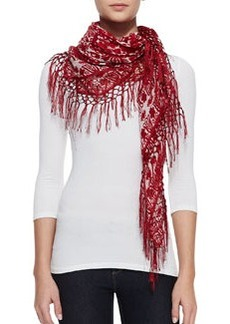 Silesa Floral Square Scarf, Red   Silesa Floral Square Scarf, Red