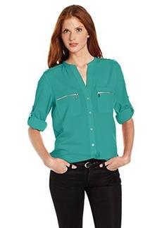 Calvin Klein Women's Zipper Roll Sleeve