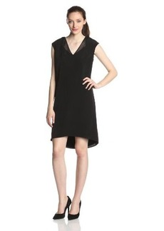 Calvin Klein Women's Plus-Size V-Neck Dress with Chiffon