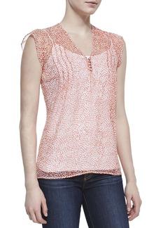 Joie Macy B Printed-Silk Cap-Sleeve Blouse