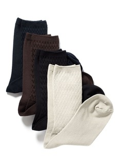 Jones New York 2 Pack Basket Weave and Solid Crew Socks
