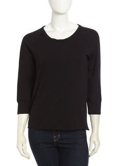 James Perse Raw-Edge Terry Pullover, Black