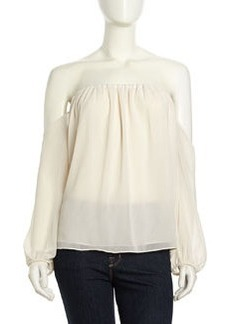 T Bags Off-Shoulder Layered Crepe Top, Ivory