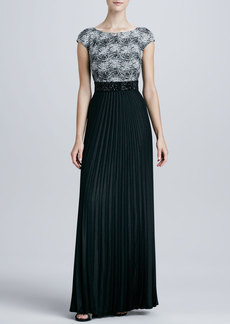Kay Unger New York Lace-Bodice Pleated Gown