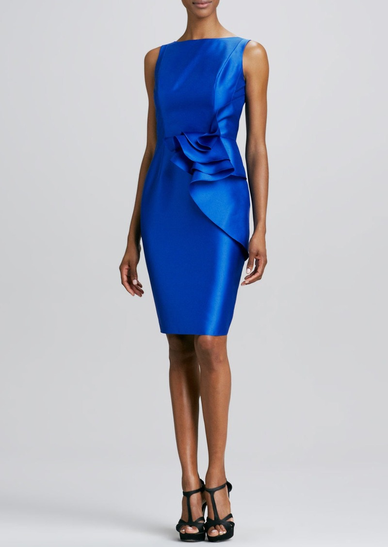 Carmen Marc Valvo Sleeveless Ruffle-Waist Cocktail Dress