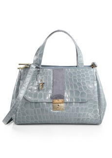 Marc Jacobs Crocodile-Embossed Flap Satchel