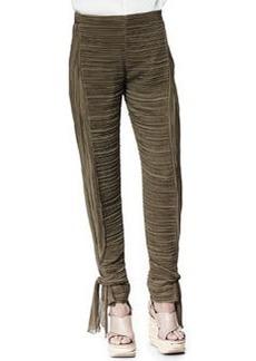 Chloe Tie-Ankle Pants, Khaki