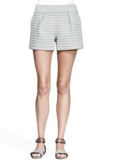 Brunello Cucinelli Pleated Bonded-Stripe Shorts