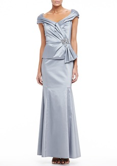 David Meister Long Gown with Trumpet Skirt