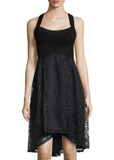 Nanette Lepore Cloud 9 Fanned Lace High-Low Dress, Black