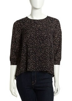 French Connection Flowy Animal-Print Crepe Top, Gray/Black