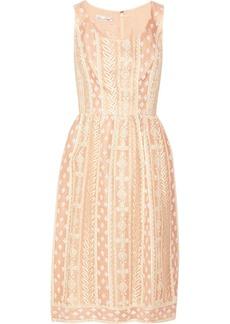 Oscar de la Renta Embroidered silk-organza dress