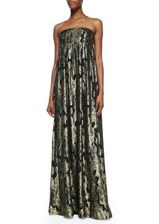 Michael Kors Metallic Ikat Strapless Gown