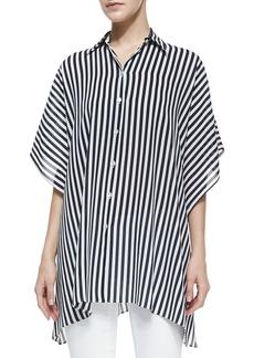 Michael Kors Striped Kimono Blouse, Midnight/White