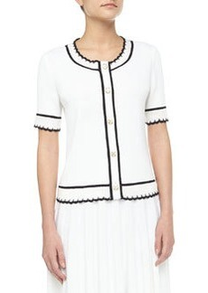 St. John Short-Sleeve Scallop-Trim Cardigan, Bright White/Onyx