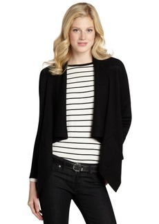 Tahari black wool blend shawl collar open front cardigan